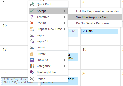 Right-click  menu options for meetings