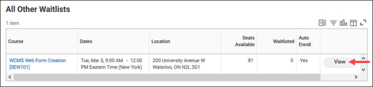 WCMSWEb forms SEW101 on Waitlist with View highlighted