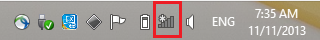 Network icon in task bar