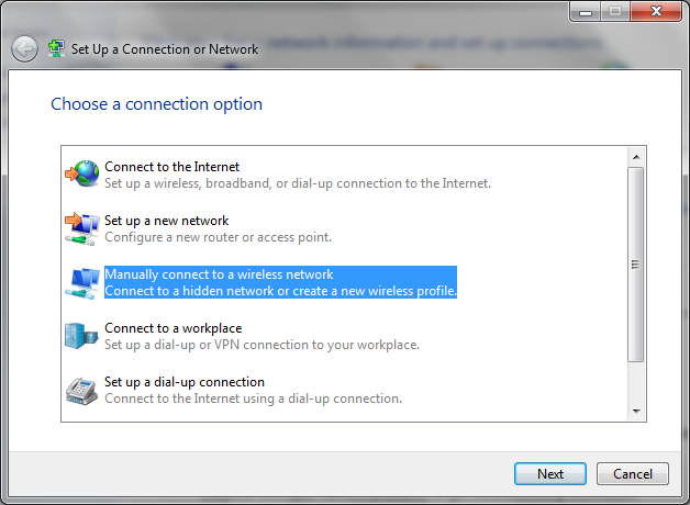 Screenshot of setting up a connection.