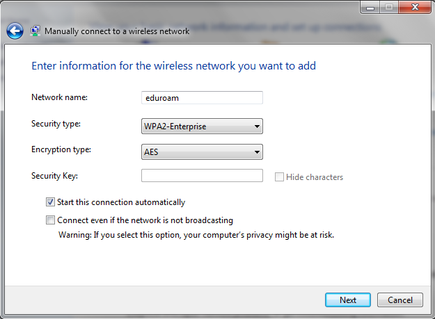 Screenshot of eduroam connection settings.