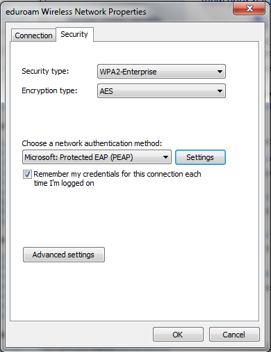 Screenshot of security tab.