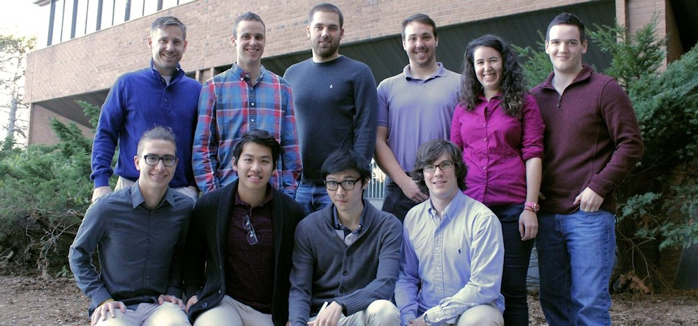 Professor Andrew Laing and nine student lab members.