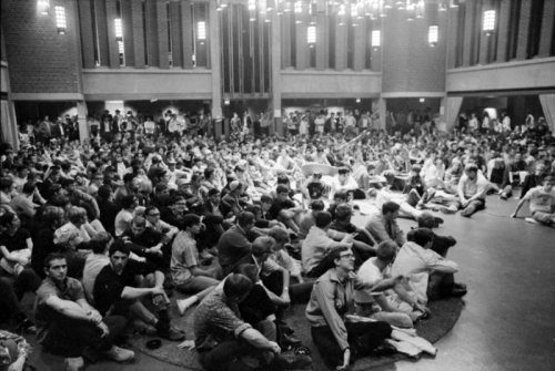 Crowd of students sitting at the Student Life Center