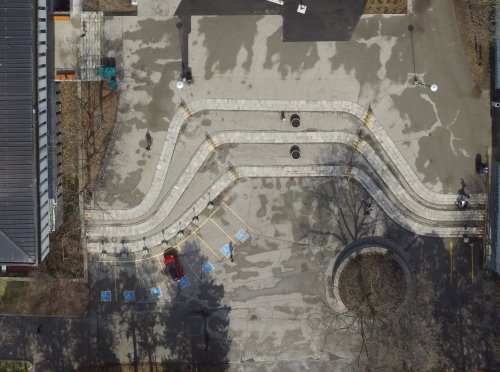 aerial view of the Arts Quad
