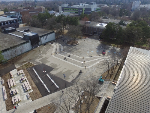 angled aerial of the Arts Quad