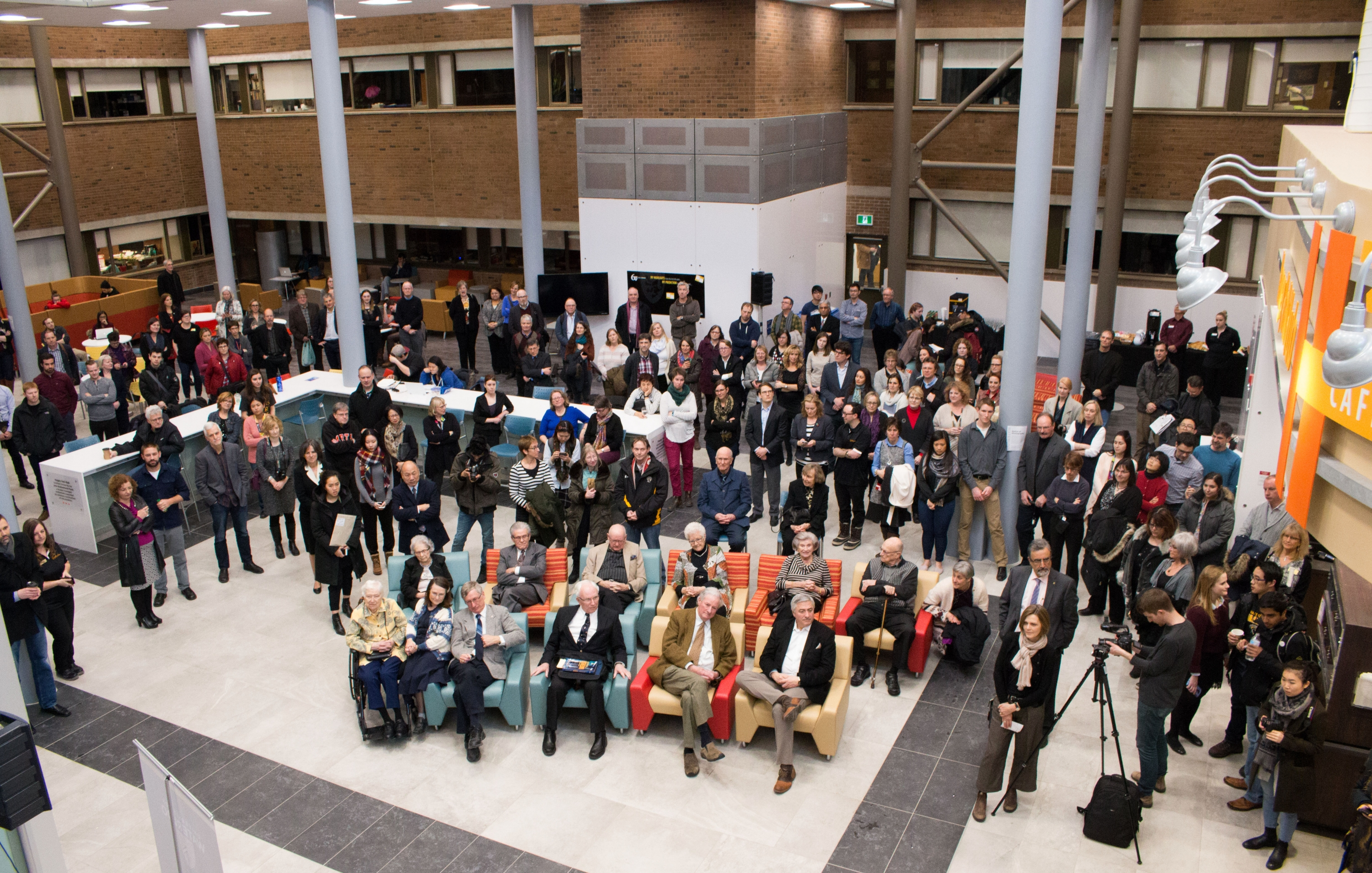 aerial view of the crowd at the Hagey Hub official opening