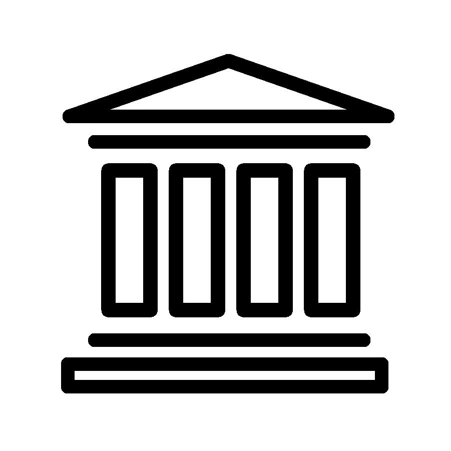 Illustration en noir et blanc d'un musée