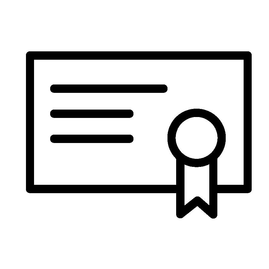 Illustration en noir et blanc d'un certificat