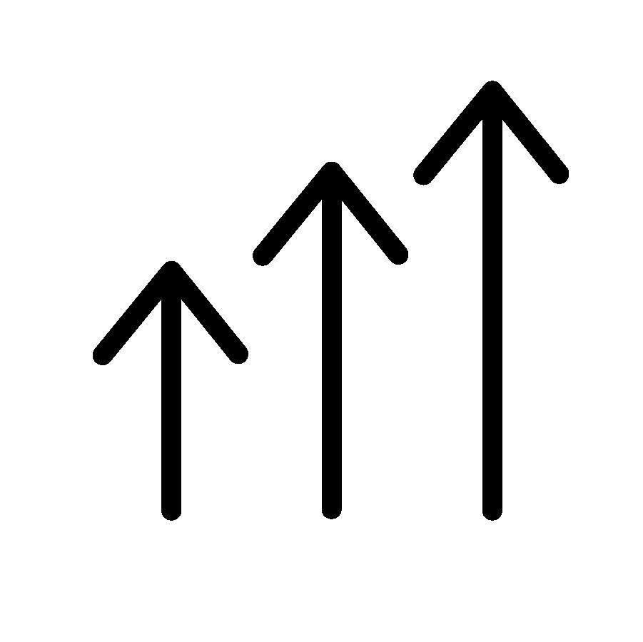 illustration en noir et blanc de trois flèches pointant vers le haut