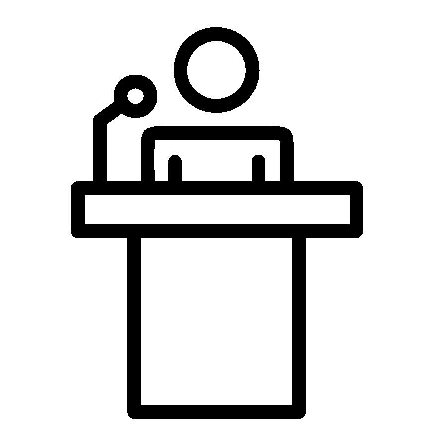 Illustration en noir et blanc d'un podium