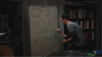 Sheldon of The Big Bang Theory writing on a whiteboard