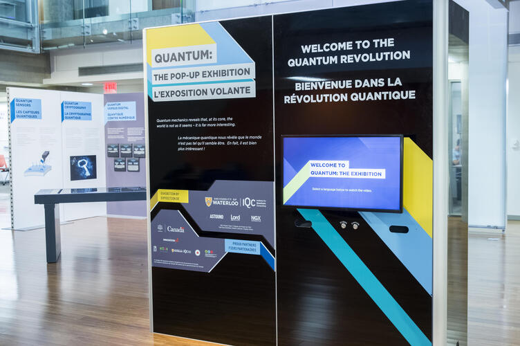 A collection of panels from QUANTUM: The Pop-Up Exhibition explain quantum information science and technology.