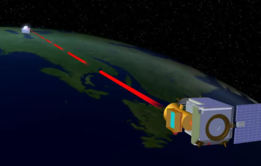 Illustration of quantum satellite in space