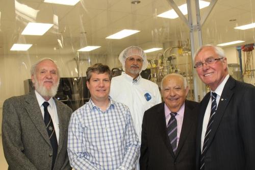 Drs Tom Foxon, Jonathan Baugh, Zbig Wasilewski, Adel Sedra and Arthur Carty outside the QNC MBE lab
