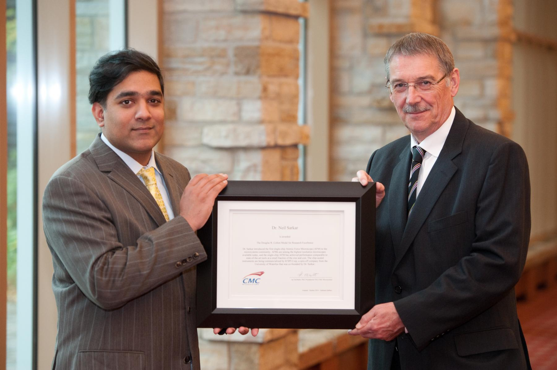 Neil Sarkar awarded the Douglas R. Colton Medal for Research Excellence from CMC Microsystems