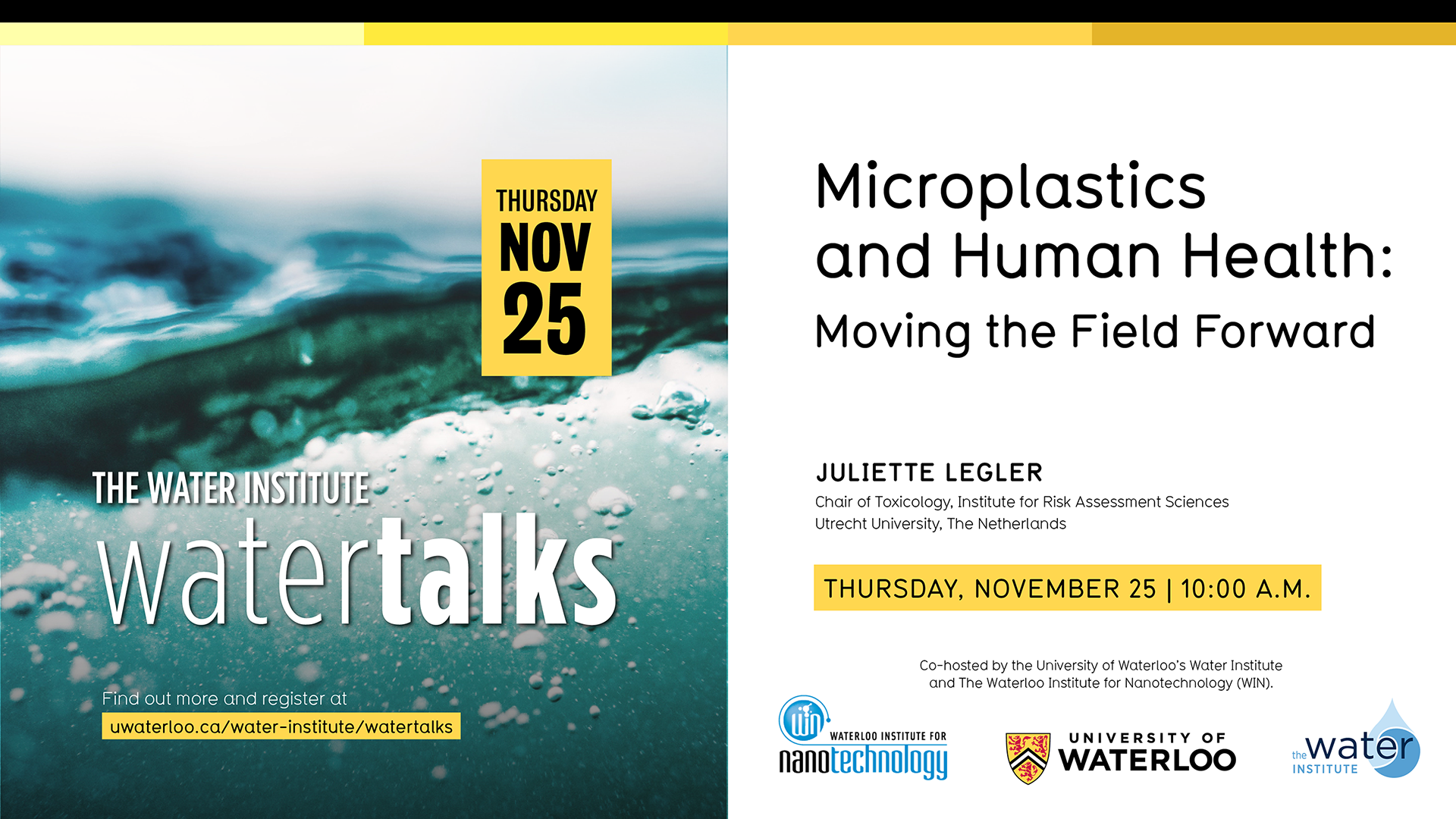 Ad for WIN-WaterTalk: Microplastics and Human Health: Moving the Field Forward event