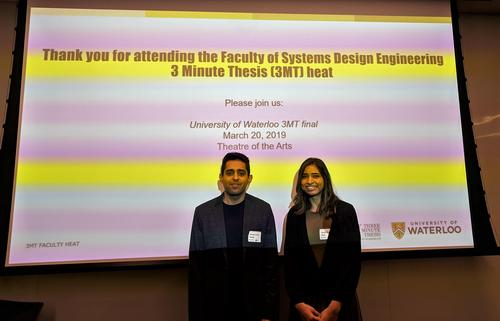 Photo of Ahmed and Surya at the 3MT competition