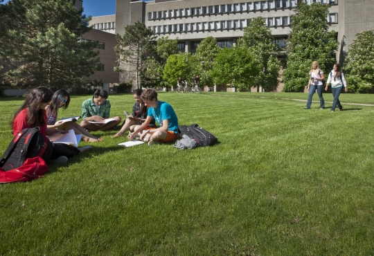 students on campus outside of MC