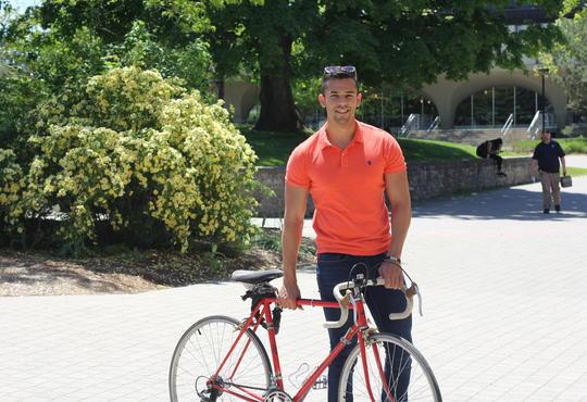 Kealan with a bike.