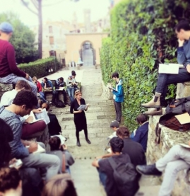Rome, outdoor class for students
