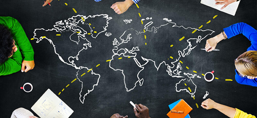 Chalkboard map with people