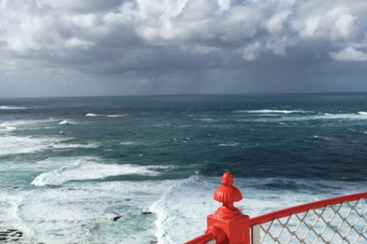 View from a lighthouse onto the ocean