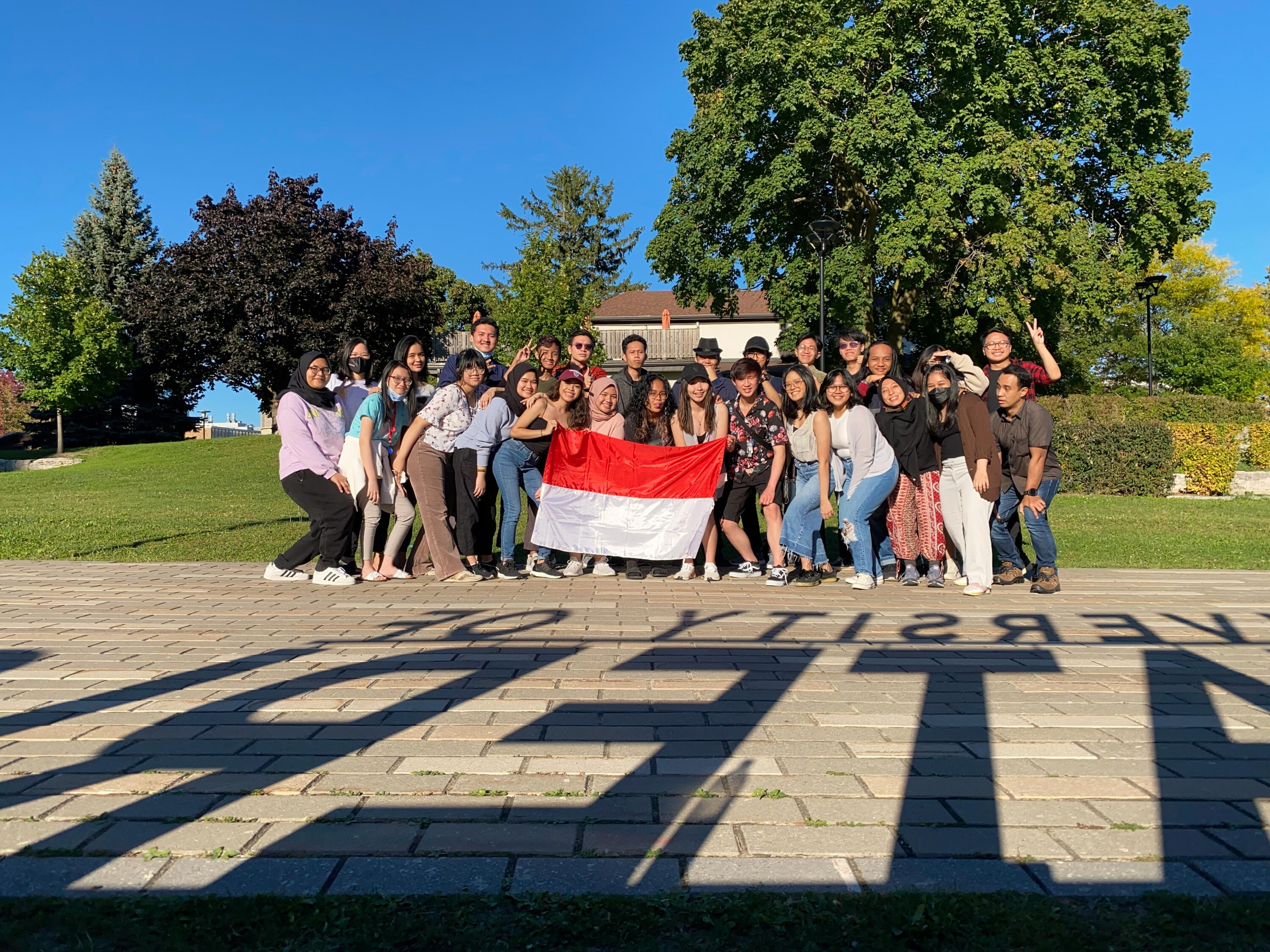 Indonesian students holding flag
