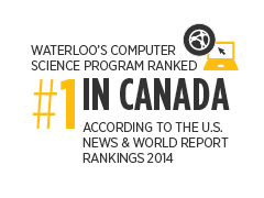 Waterloo's computer science program is ranked #1 in Canada according to the US News and World Report Rankings 2014