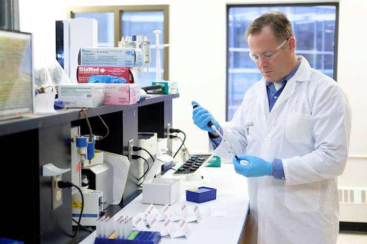 Professor Ken Stark takes a sample of blood to determine the levels of omega-3 fatty acids.