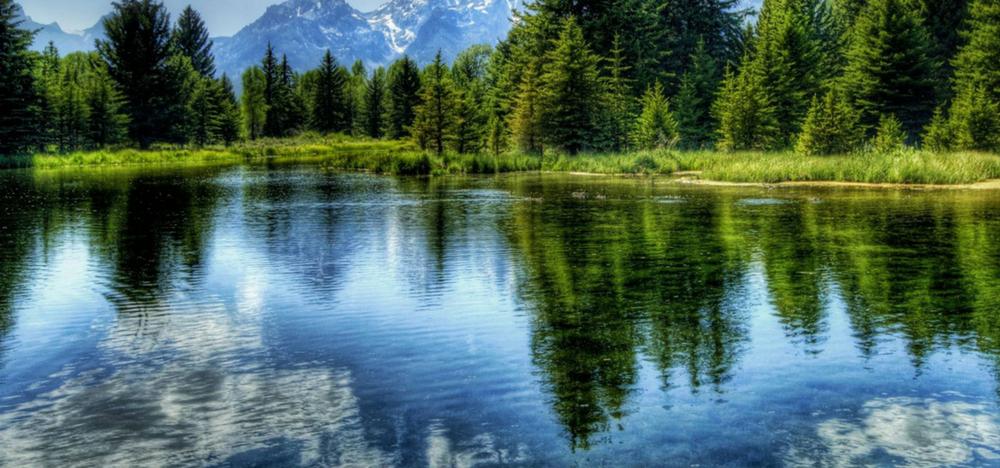 Lake beside mountain