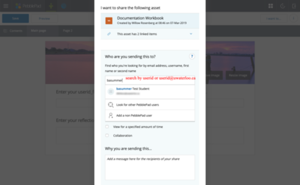 search by userid