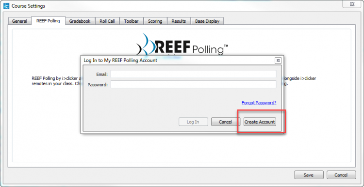 Screenshot indicating the Create Account button.