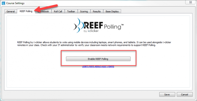 Screenshot indicating the Enable REEF Polling button.