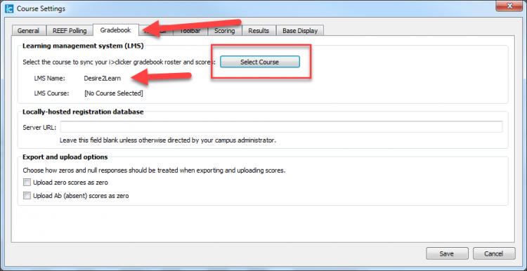 Screenshot of Gradebook tab in iClicker settings