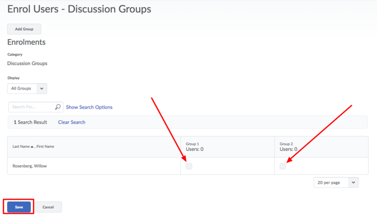 image of the enrol users page with red arrows pointing to the group checkbox and with a red box around the Save button
