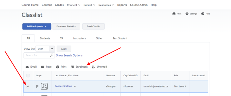 image of the Classlist page with arrows pointing to the Enrollment button and the check box beside the TA