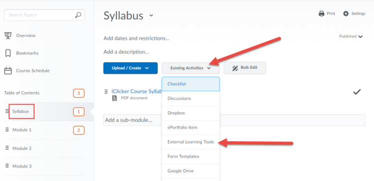 Screenshot highlighting the External Learning Tools link.