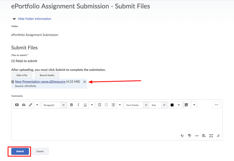 image of the file submission window with a red arrow pointing to the attached file and a red box around the submit button