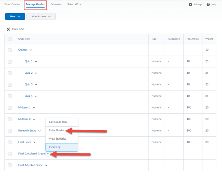 Screenshot indicating Enter Grades link for Final Calculated Grades.