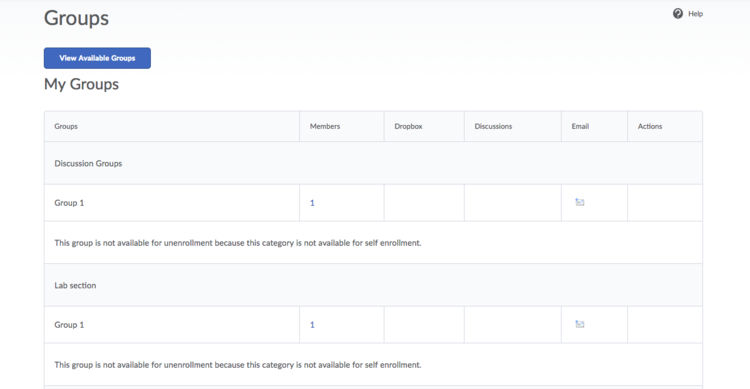 image of the group enrollment page from a student perspective
