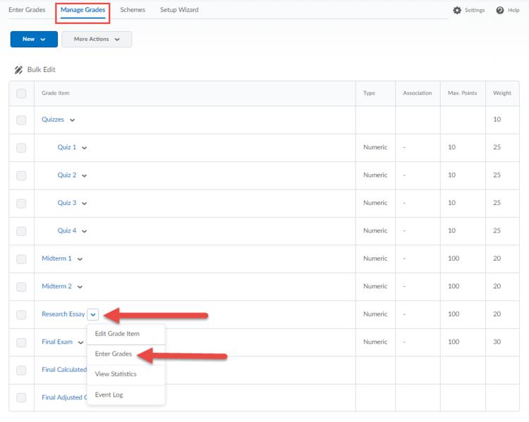 Screenshot indicating the Enter Grades link in Manage Grades.