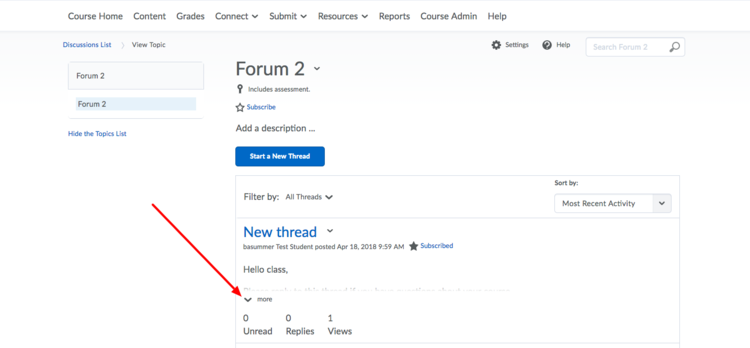 image of the forum thread with a red arrow pointing to the more option in the thread