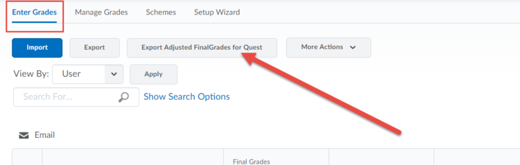 Screenshot highlighting the Export Final Adjusted Grades for Quest button.