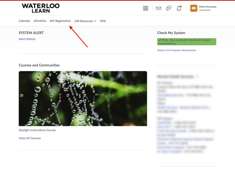 image of the system homepage with a red arrow pointing to the Self Registration link