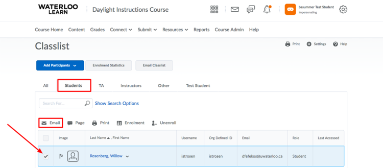 image of the classlist with a red box around the student tab and the email link with an arrow pointing to the checkbox beside a student's name