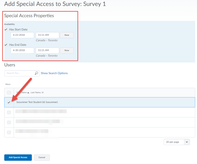 Screenshot displaying the Survey Special Access setup screen.