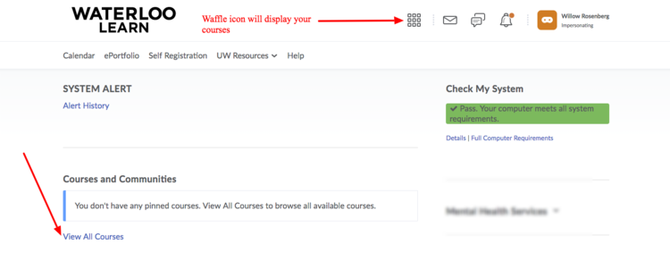 image of the learn homepage with a red arrow pointing to the View all courses link and the Waffle icon