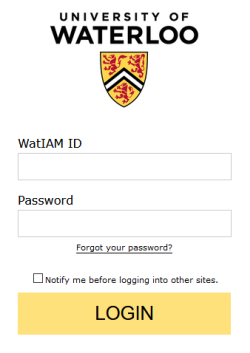 login with your WatIAm username and password