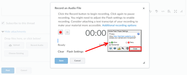 click Flash Settings and Allow and then Close